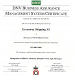 Greenway Shipping AS - ISO certification